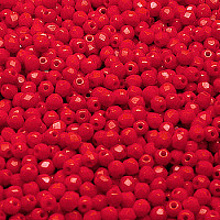 50pcs Czech Fire Polished Faceted Glass Beads Round 3mm Opaque Red Coral