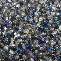 50pcs Czech Fire Polished Faceted Glass Beads Round 4mm Crystal Blue Flare