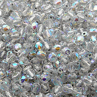 50pcs Czech Fire Polished Faceted Glass Beads Round 4mm Crystal Silver Lined AB