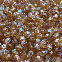 50pcs Czech Fire Polished Faceted Glass Beads Round 4mm Crystal Brown Rainbow