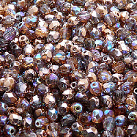 50pcs Czech Fire Polished Faceted Glass Beads Round 4mm Crystal Copper Rainbow