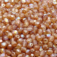 50pcs Czech Fire Polished Faceted Glass Beads Round 4mm Crystal Orange Rainbow Matte