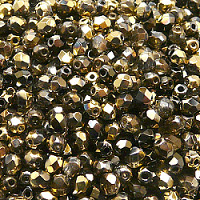 50pcs Czech Fire Polished Faceted Glass Beads Round 4mm Crystal California Nights