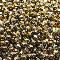 50pcs Czech Fire Polished Faceted Glass Beads Round 4mm Crystal California Sun