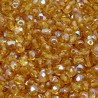 50pcs Czech Fire Polished Faceted Glass Beads Round 4mm Topaz AB