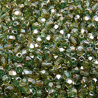 50pcs Czech Fire Polished Faceted Glass Beads Round 4mm Green Aquamarine Celsian
