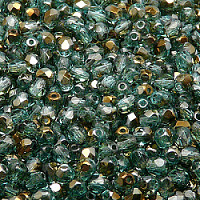 50pcs Czech Fire Polished Faceted Glass Beads Round 4mm Green Aquamarine Valentinit