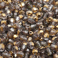 25pcs Czech Fire Polished Faceted Glass Beads Round 5mm Crystal Gold Bronze Semi Luster