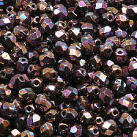 50pcs Czech Fire Polished Faceted Glass Beads Round 5mm Jet Vega Iris Luster