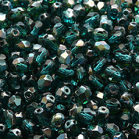25pcs Czech Fire Polished Faceted Glass Beads Round 5mm Green Aquamarine Celsian