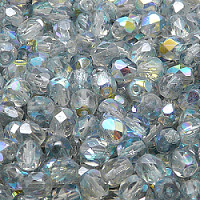 25pcs Czech Fire Polished Faceted Glass Beads Round 6mm Crystal Blue Rainbow