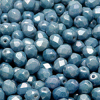 25pcs Czech Fire Polished Faceted Glass Beads Round 6mm Opaque Blue Ceramic Look