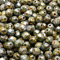 50pcs Czech Fire Polished Faceted Glass Beads Round 6mm Chalk White Blue Brown Senegal
