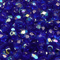 25pcs Czech Fire Polished Faceted Glass Beads Round 6mm Dark Sapphire AB