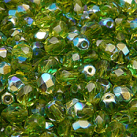 25pcs Czech Fire Polished Faceted Glass Beads Round 6mm Olivine AB