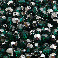 25pcs Czech Fire Polished Faceted Glass Beads Round 6mm Emerald Chrome