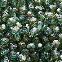 25pcs Czech Fire Polished Faceted Glass Beads Round 6mm Green Aquamarine Celsian