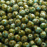 25pcs Czech Fire Polished Faceted Glass Beads Round 6mm Opaque Turquoise Blue Travertine