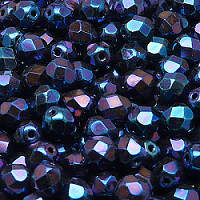 12pcs Czech Fire Polished Faceted Glass Beads Round 7mm Jet Blue Iris