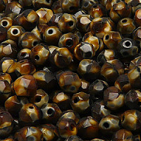 12pcs Czech Fire Polished Faceted Glass Beads Round 7mm Brown Jet Moonlight (26117)