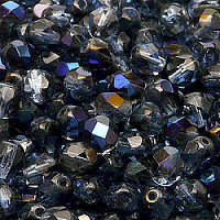 12pcs Czech Fire Polished Faceted Glass Beads Round 7mm Sapphire Azuro