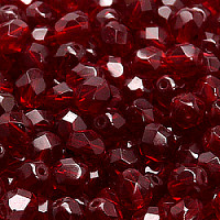 25pcs Czech Fire Polished Faceted Glass Beads Round 7mm Garnet