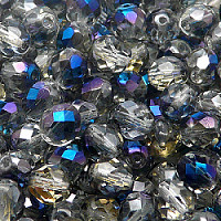 12pcs Czech Fire Polished Faceted Glass Beads Round 8mm Crystal Blue Flare