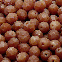 10pcs Czech Fire Polished Faceted Glass Beads Round 8mm Brown Alabaster Matte