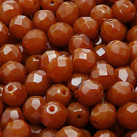 10pcs Czech Fire Polished Faceted Glass Beads Round 8mm Brown Alabaster