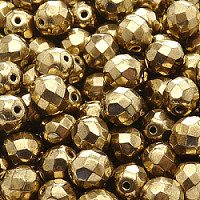 10pcs Czech Fire Polished Faceted Glass Beads Round 8mm Jet Gold Bronze Luster