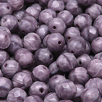 10pcs Czech Fire Polished Faceted Glass Beads Round 8mm Violet Moonlight (26016)
