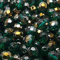 10pcs Czech Fire Polished Faceted Glass Beads Round 8mm Emerald Valentinit