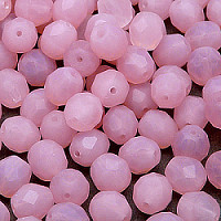 10pcs Czech Fire Polished Faceted Glass Beads Round 8mm Pink Opal Matte (71010)