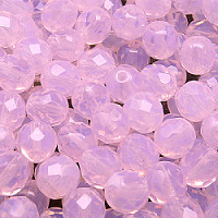 12pcs Czech Fire Polished Faceted Glass Beads Round 8mm Pink Opal (71200)