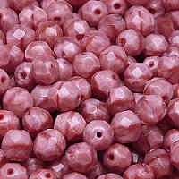 10pcs Czech Fire Polished Faceted Glass Beads Round 8mm Pink Moonlight (76027)