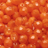 10pcs Czech Fire Polished Faceted Glass Beads Round 8mm Orange Moonlight (96010)