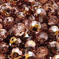 4pcs Czech Fire Polished Faceted Glass Beads Round 10mm Crystal Gold Capri