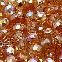 00030 10FP012 Crystal Czech Glass 10 pcs Fire-Polished Faceted Beads Round 10mm