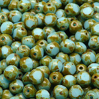 20pcs Czech Fire Polished Semi Faceted 3Cut Glass Beads Round 6mm Opaque Turquoise Blue Travertine