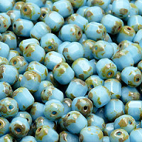 Czech Glass Cathedral Cut Beads Turquoise Blue / Dark Travertine Opaque 6mm