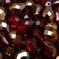 6pcs Czech Fire Polished Faceted Glass Drop Beads 13x10mm Ruby Valentinit