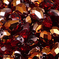 6pcs Czech Fire Polished Faceted Glass Drop Beads 13x10mm Ruby Sun Set