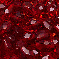6pcs Czech Fire Polished Faceted Glass Drop Beads 13x10mm Ruby