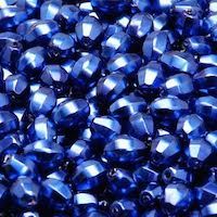 50pcs Czech Fire Polished Faceted Glass Crystal Pearls Beads Olive 7x5mm Blue Night