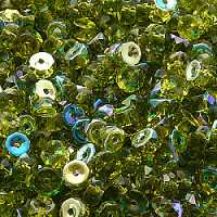 30pcs Czech Fire Polished Faceted Glass Beads Rondelle Disc 6x3mm Olivine AB