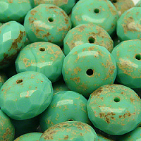 10pcs Czech Fire Polished Faceted Beads Rondelle 17x11mm Opaque Turquoise Green Travertineue