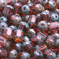 "20pcs Czech Fire Polished Semi Faceted Glass Beads Round ""Lantern\"" 8mm Amethyst Travertine (20040)"