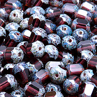 "20pcs Czech Fire Polished Semi Faceted Glass Beads Round ""Lantern\"" 8mm Amethyst Travertine (20060)"
