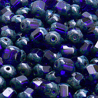 "20pcs Czech Fire Polished Semi Faceted Glass Beads Round ""Lantern\"" 8mm Cobalt Blue Travertine"