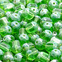 "20pcs Czech Fire Polished Semi Faceted Glass Beads Round ""Lantern\"" 8mm Light Chrysolite Travertine"